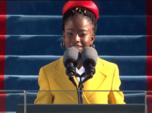 Photo of poet Amanda Gorman presenting her poem at the 2021 Presidential Inauguration