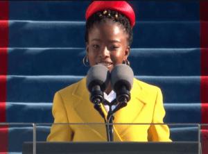 Photo of poet Amanda Gorman presenting her poem at the 2021 Presidential Inauguration