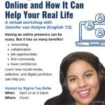 """Photo image of event flyer for Life After Monmouth Workshop Series: """"Talking About Yourself Online & How It Can Help You in Real Life"""""""