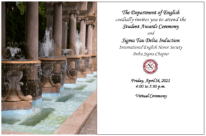 Sigma Tau Delta Induction Ceremony Invitation Announcement - click or tap for detailed view