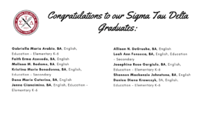 Sigma Tau Delta list of graduates - Click or tap to view part 2