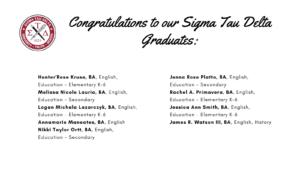 Sigma Tau Delta list of graduates part 3 - click or tap to view list of graduates