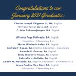 Photo image of list of January 2021 graduates