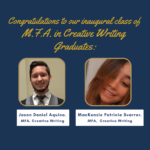 Congratulations message and photo of two MFA in Creative Writing graduates