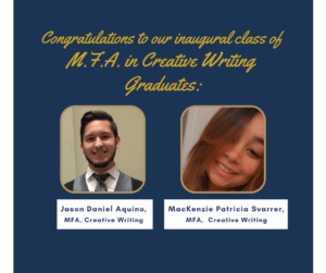 Image of congratulatory message for first two graduates of MFA in Creative Writing - click or tap for detailed view