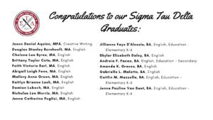 Image of Sigma Tau Delta Graduates - Part 1 - click or tap to view list of graduates