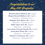 Photo image shows list of May 2021 graduates part 4