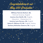 Photo image shows list of May 2021 graduates part 5