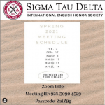 Photo image of Sigma Tau Delta Spring 2021 Meeting Schedule