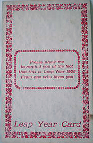 Photo of 1908 Leap Year Postcard: Please allow me to remind you