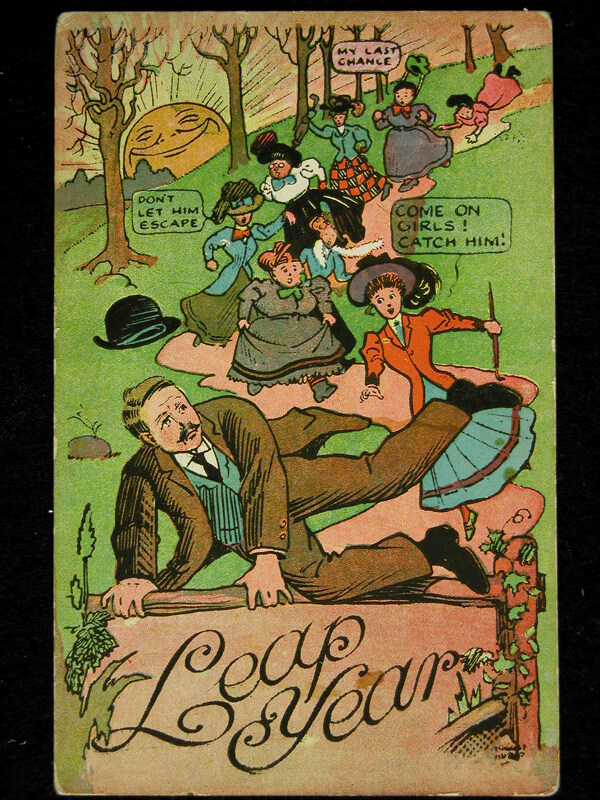 Photo of 1908 Leap Year Postcard: Don't let him escape