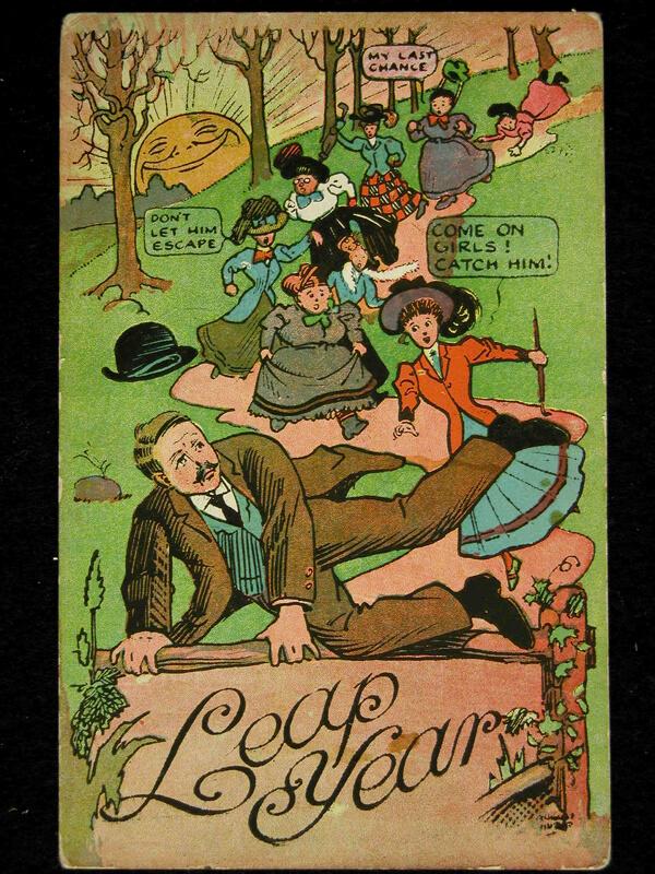 Photo of 1908 Leap Year Postcard: Don't let him escape