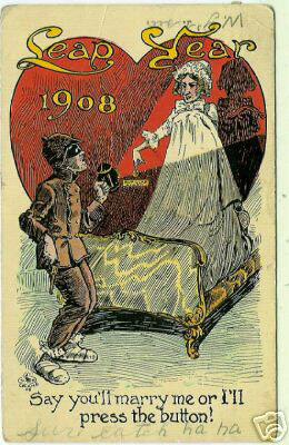 Photo of Leap Year Postcard: ay you'll marry me or I'll press the button