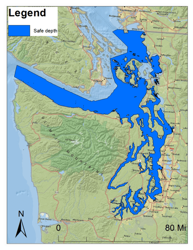 killer whale habitat in the salish sea based on depth to seafloor created by marine and environmental biology and policy student