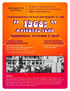 Flyer for the event '1968: A pivotal year'