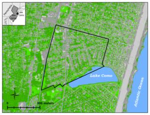 A map with a bounding box around the borough of lake como