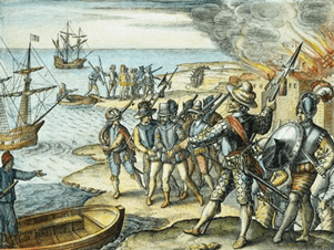 Photo image of Sir Walter Raleigh's drawing titled Raid on the Island of Trinidad, 1595