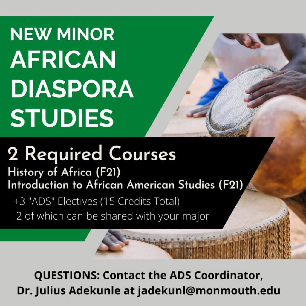 Photo image of flyer for Minor in African Diaspora Studies (ADS) - click or tap for detailed view and download