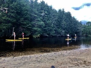 Photo shows Ecotherapy Program students sailboarding on a lake