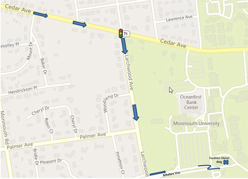 Image of map with directions for Carrier Drop Offs to Facilities Management Mailroom. Click or tap image for detailed view of map