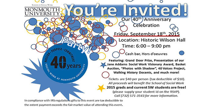 40th anniversary party announcement events monmouth university
