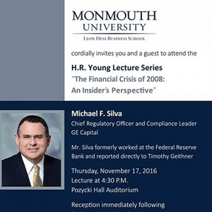 Invitation to Attend the 2016 HR Young Lecture The Financial Crisis of 2008: An Insider's Prospective