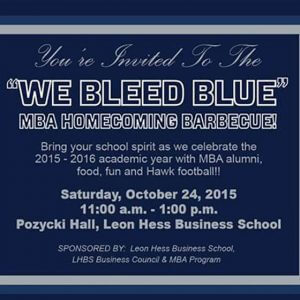 """Photo of invitation to attend """"We Bleed Blue"""" MBA Homecoming Barbecue at Monmouth University in 2015"""