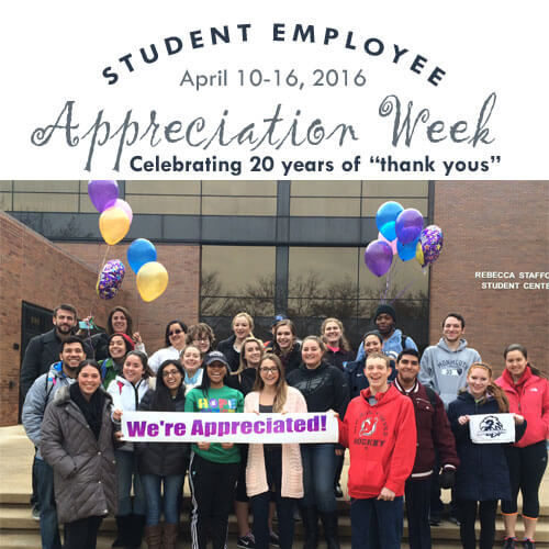 Photo of students with balloon celebrating National Student Employment Appreciation Week 2016