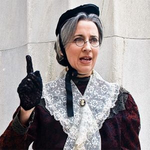 Photo of Susan B. Anthony as performed by Marjorie Goldman, an historic actor from the American Historical Theatre in Philadelphia, Pennsylvania