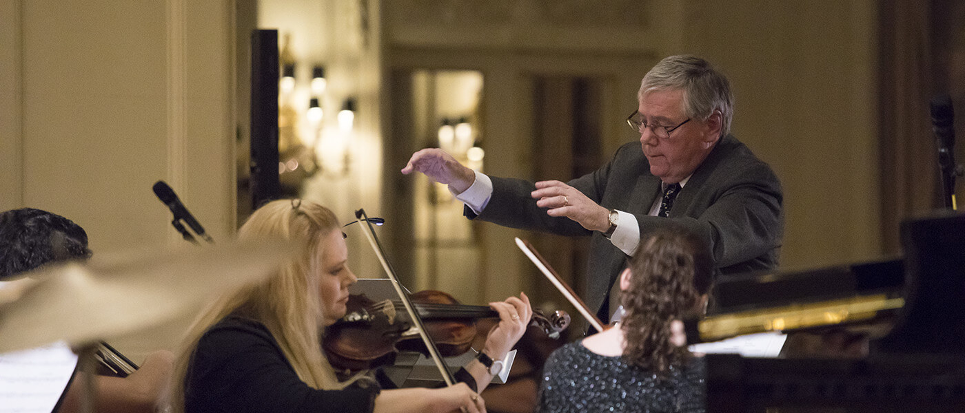Professor Michael Gillette conducting the Monmouth University Chamber Orchestra