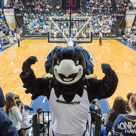 Shadow flexing, looking pumped for the Monmouth Madness festivities.