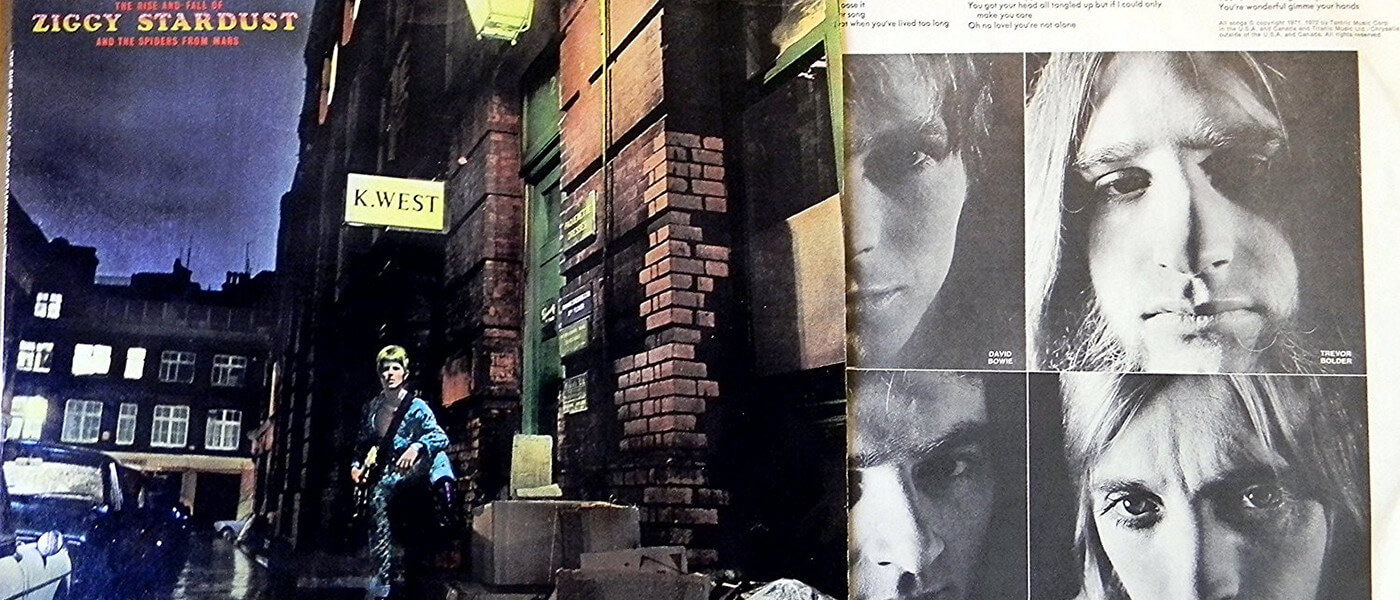 Album art for 'Ziggy Stardust', along with photos of The Spiders from Mars