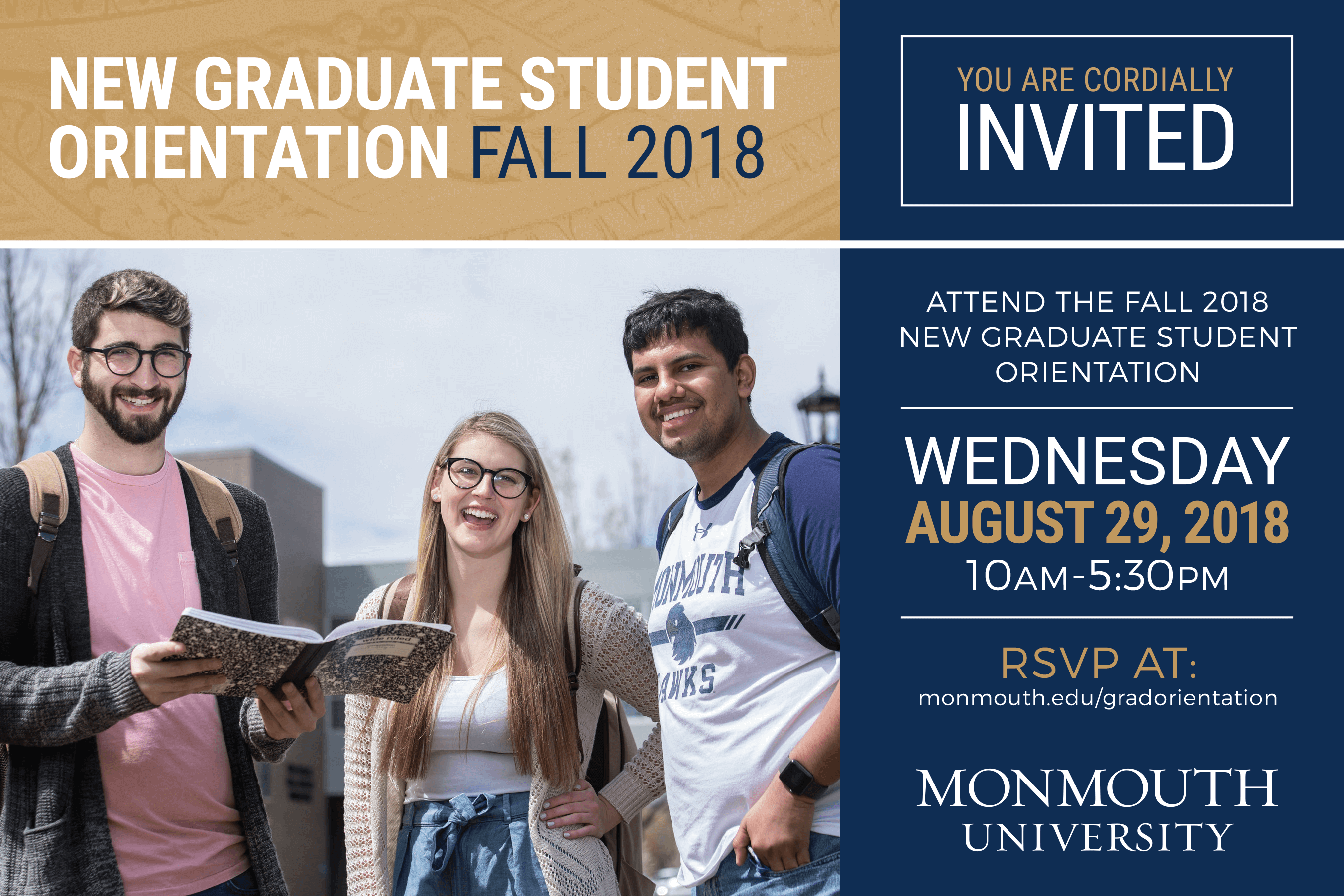 Register for the Fall 2018 Graduate Orientation, happening August 29, 2019 at Monmouth University