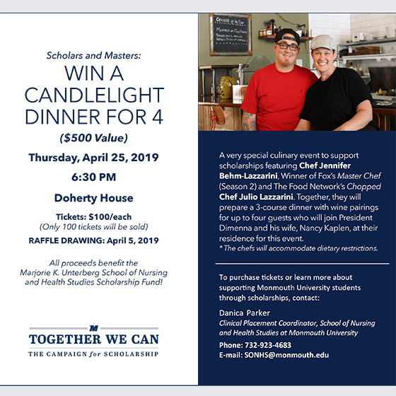 Image of Flyer for Win a Candlelight Dinner for 4