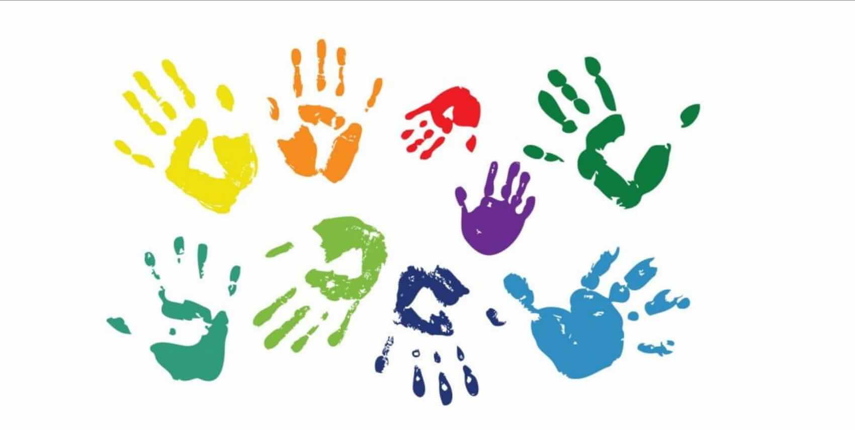 Illustration of hand prints in various colors