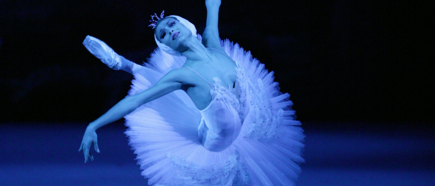 Photograph of ballerina from Bolshoi Ballet production of Swan Lake