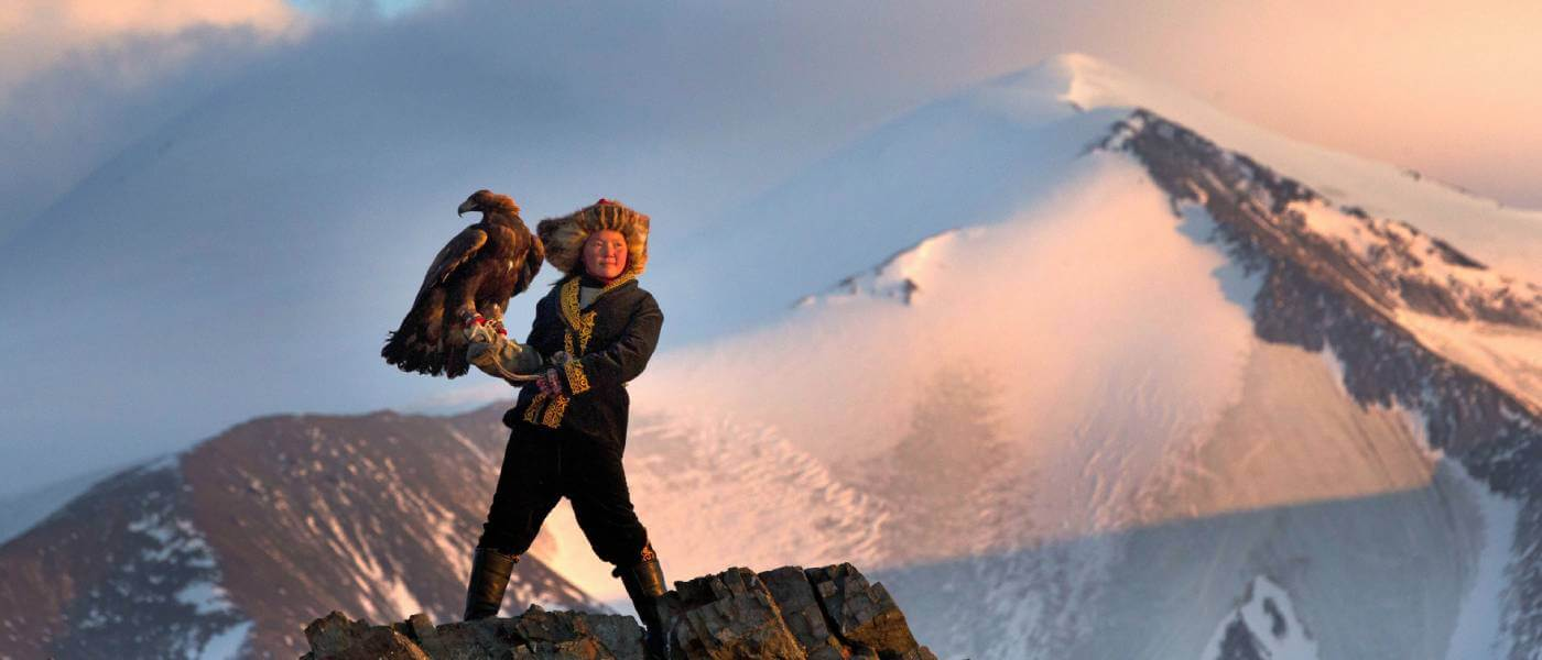 Photo from the film The Eagle Huntress being shown as part of the World Cinema Series at Monmouth University