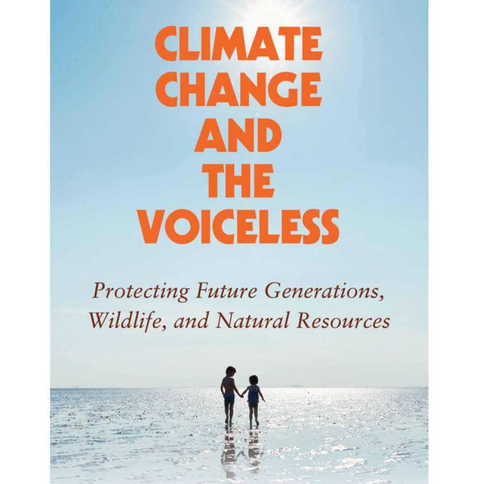 Photo of cover for book titled Climate Change and the Voiceless