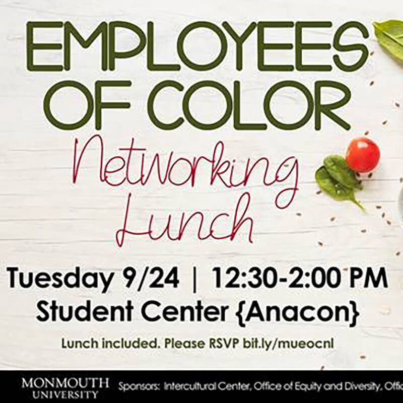 Images shows cover of flyer for Employees of Color Networking Event at the Intercultural Center