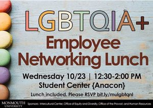 Images shows flyer cover for LGBTQIA+ Employees Networking Events at Intercultural Center