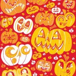 Image shows drawings of Halloween pumpkins