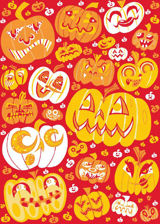 Image shows drawing of Halloween-decorated pumpkins