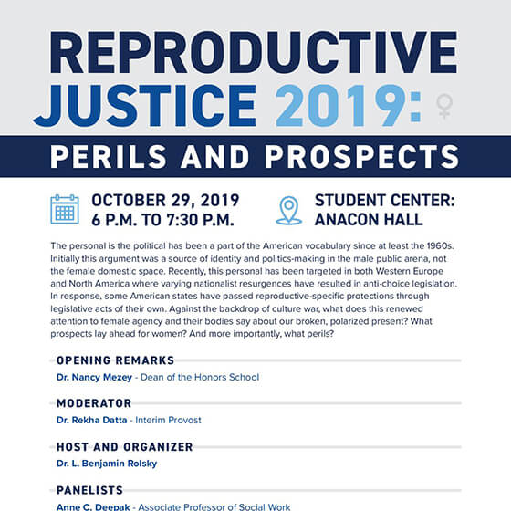 Image of flyer announcing Reproductive Justice 2019 panel discussion event