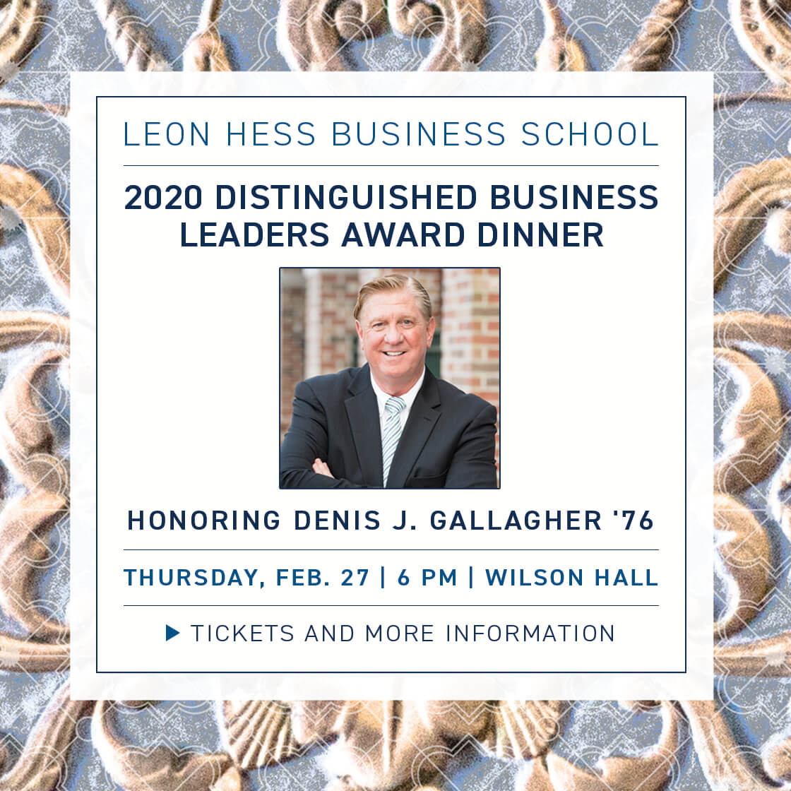 Photo image of poster announcing 2020 Distinguished Business Leaders Award Dinner honoring Denis J. Gallagher '76 at Monmouth University