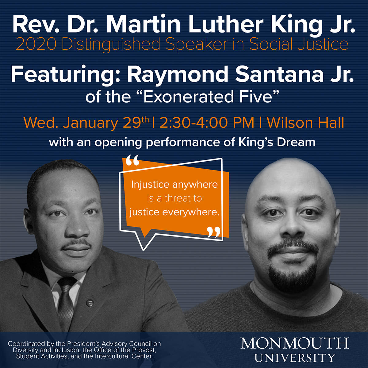 Photo image of poster announcing 2020 Distinguished Speaker in Social Justice Raymond Santana Jr. at Monmouth University