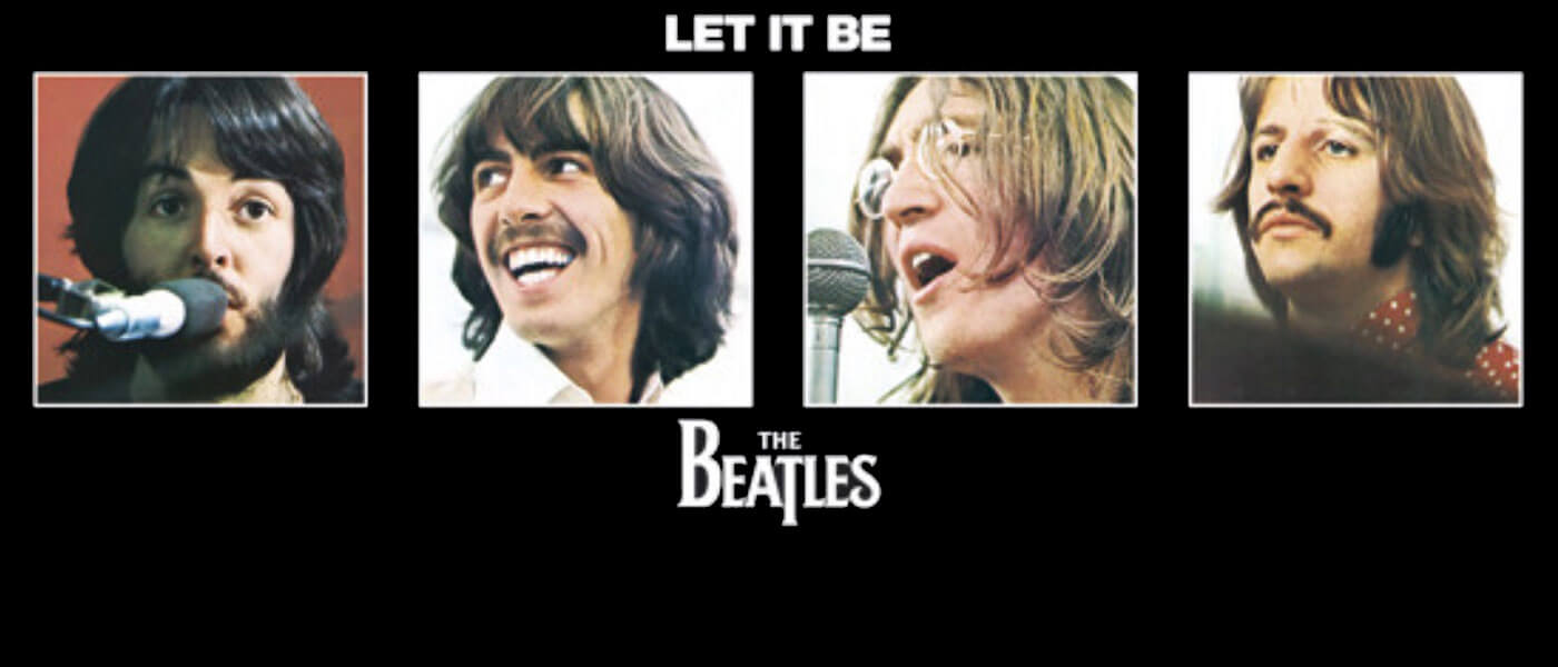 Photo image shows all four Beatles pictured from the Let It Be album