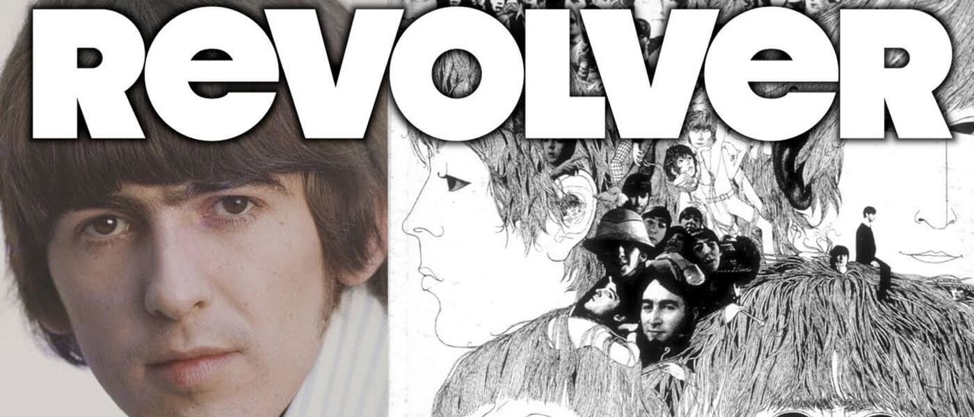 Combined Photo Images of George Harrison of the Beatles and the cover of their album Revolver