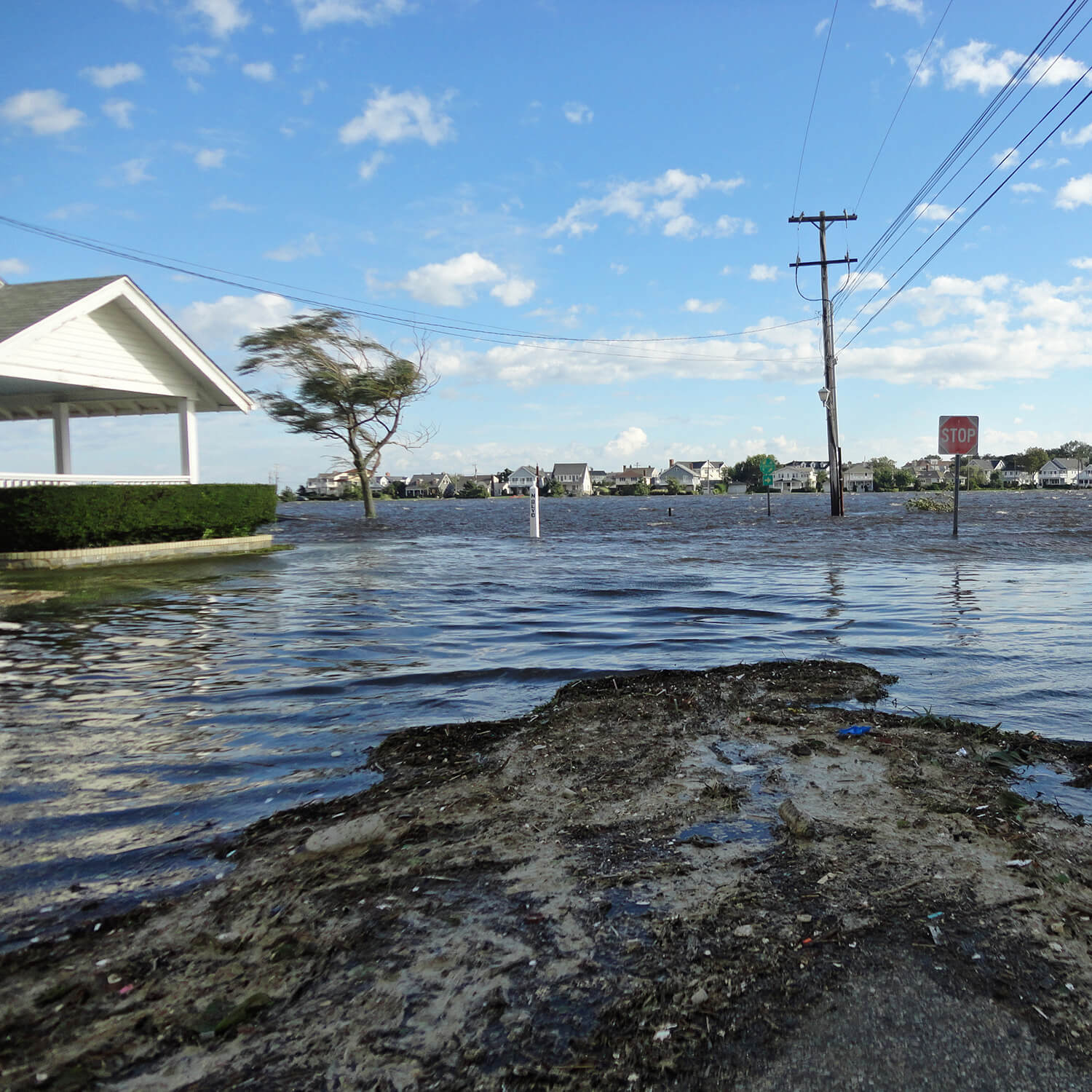 Photo shows stormwater runoff pollution at the Jersey Shore