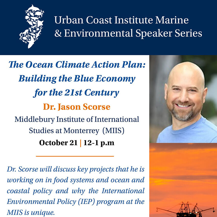Flyer image for The Ocean Climate Action Plan: Building the Blue Economy for the 21st Century online event