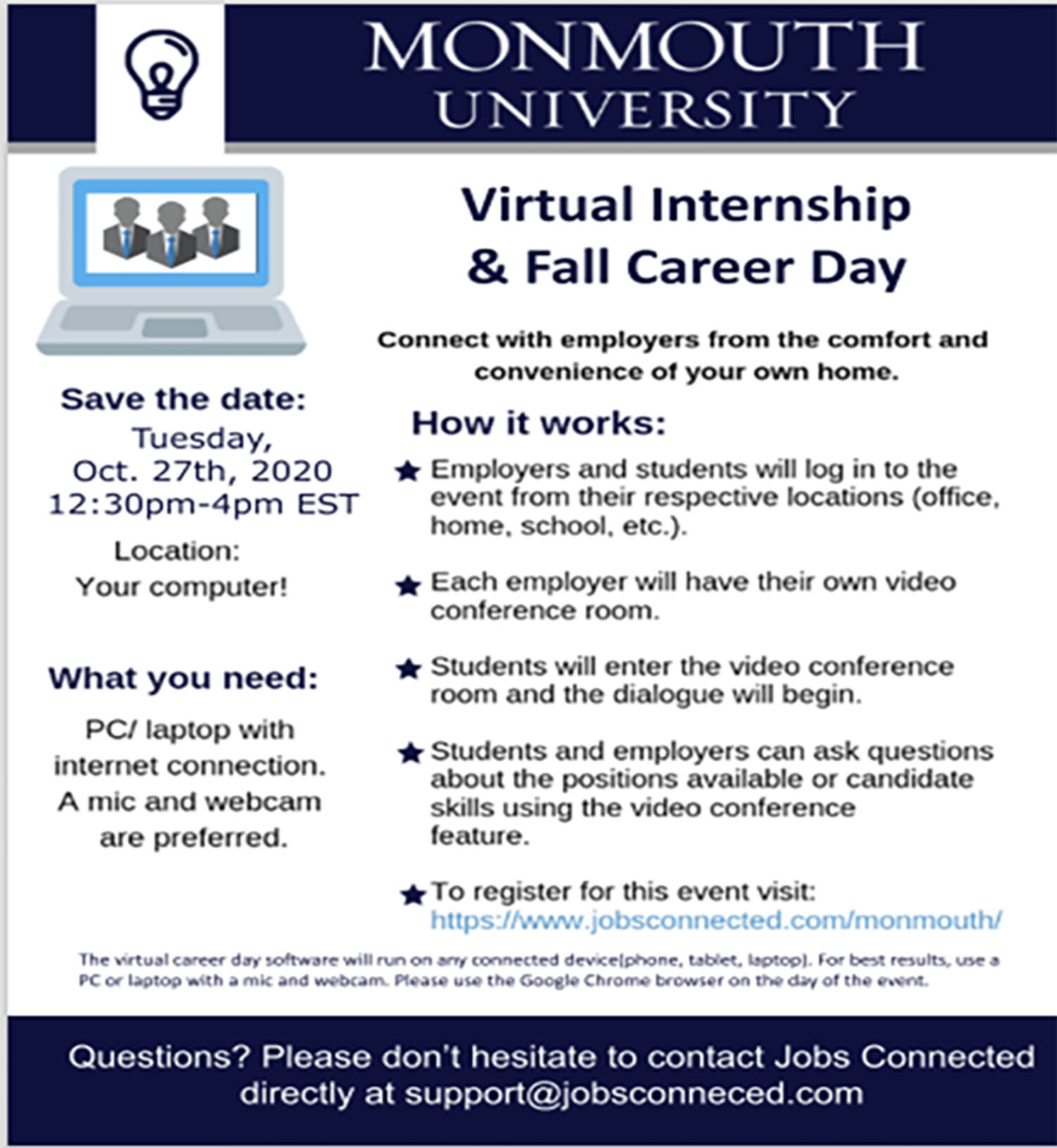 Graphic image of flyer for Virtual Internship and Fall Career Day
